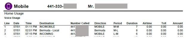 mobile bill invoice