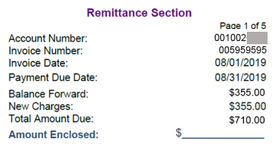 TV bill remittance section