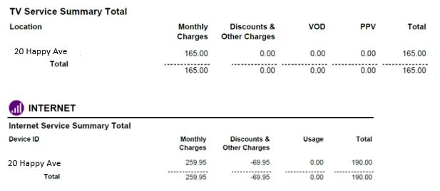TV + Internet bill